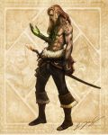 boots claws jewelry long_hair muscle mutation necklace pants pirate sad skull sword tattoo topless weapon