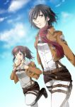 2girls black_hair brown_hair buckle clouds dressing food gen_(enji) jacket mikasa_ackerman mouth_hold multiple_girls pants ponytail sasha_browse scarf shingeki_no_kyojin sky standing_on_one_leg thigh_strap toast