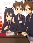:o animal_ears black_hair blazer blush brown_eyes desk face hand_on_shoulder hirasawa_ui k-on! long_hair multiple_girls nakano_azusa nasuna pen pencil pencil_case ribbon school_uniform short_hair sitting skirt suzuki_jun tail twintails