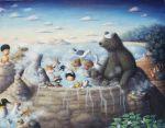 animal bath bear bird bunny capybara cat child dog fox highres monkey onsen penguin peroinu rabbit raccoon