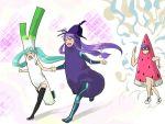 eggplant gomoku hatsune_miku holding_hands kaito kamui_gakupo long_couple popsicle running spring_onion suika_bar twintails vocaloid