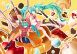 apollo_chocolate aqua_eyes aqua_hair boots bunny cake candy checkerboard_cookie chocolate cookie cream_puff dual_persona food fork fruit hair_ornament hatsune_miku heart in_food jelly_bean konpeitou koto_(colorcube) long_hair lots_of_laugh_(vocaloid) macaron minigirl mont_blanc_(food) pancake pastry pie pocky skirt socks star strawberry stuffed_animal stuffed_toy syrup thighhighs twintails very_long_hair vocaloid