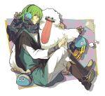crossed_legs dragon_quest dragon_quest_iv earmuffs ebira green_hair hero_(dq4) hoimi_slime plaid plaid_scarf scarf short_hair sitting slime_(dragon_quest) tongue v