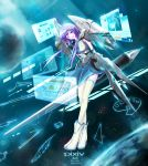 boots highres open_mouth pixiv pixiv-tan planet purple_eyes purple_hair short_hair solo space star stu_dts violet_eyes wings