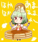 ascot butter chibi food food_on_head fork green_hair in_food kazami_yuuka knife outstretched_arms pancake plaid_vest red_eyes solo spread_arms syrup tougall touhou