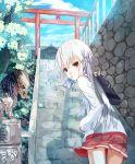 drink juice_box komainu kona_(yubisakiko) long_hair looking_back mouth_hold original predator predator_(film) school_uniform shrine skirt stairs torii white_hair