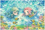 blush bubble chibi fish harukage jellyfish o3o original traditional_media underwater water watercolor_(medium)