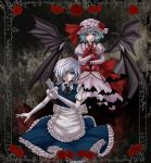 bat_wings blue_eyes braid emerane gloves hat highres izayoi_sakuya knife maid maid_headdress merutoreimu multiple_girls red_eyes remilia_scarlet short_hair silver_hair touhou twin_braids wings