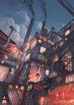 absurdres city cloud cola_(gotouryouta) cola_(pixiv810305) dutch_angle highres ladder lantern lights original paper_lantern pipes railing sky smoke smokestack solo stairs star_(sky) starry_sky winding_wheel