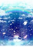 bird blue_eyes bouquet cloud clouds dress flower happy highres long_hair nekotama_(artist) open_mouth original petals rainbow silver_hair sky smile solo twintails very_long_hair