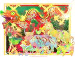 bird braid bunny chicken china_dress chinese_clothes dragon dragon_dance eastern_dragon green_eyes hat hong_meiling horse long_hair monkey namie-kun ox pig rabbit rat red_hair redhead rooster snake tiger touhou twin_braids zodiac