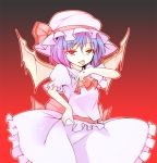 bat_wings blood blue_hair hat ippongui licking red_eyes remilia_scarlet short_hair tongue touhou wings