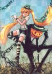 alternate_hair_color blackball blonde_hair chain halloween hatsune_miku highres jack-o'-lantern jack-o-lantern mrs.pumpkin_no_kokkei_na_yume_(vocaloid) pumpkin striped striped_legwear thigh-highs thighhighs twintails vocaloid