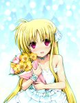 bare_shoulders blonde_hair blush bouquet dress fate_testarossa flower highres long_hair lyrical_nanoha mahou_shoujo_lyrical_nanoha neck_ribbon pink_eyes ribbon shiwo smile wristband