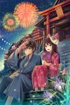 akabane_(zebrasmise) akebane blue_eyes brown_hair east_asian_architecture fan festival fireflies fireworks flower fox fox_mask japanese_clothes kimono kinchaku mask night original paper_fan ramune shrine sitting stairs torii uchiwa yukata