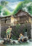 basket brown_hair child cloud clouds crab dog dress east_asian_architecture fishing_net fishing_rod forest grass highres house multiple_girls nature original plant potted_plant rock running rural sandals shite_kudasai shorts sitting sky stairs standing stone_wall striped tank_top tree wall water waterfall