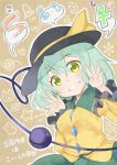 1girl blush green_eyes green_hair grin hat hat_ribbon komeiji_koishi open_hands ribbon short_hair skirt smile solo third_eye touhou wavy_hair yellow_eyes yuuzii