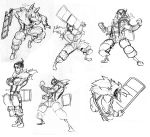 1boy arm_hair beowulf_(skullgirls) cape chair concept_art crossed_arms facial_hair folding_chair monochrome muscle official_art pelt shirtless sketch skullgirls solo stubble suspenders the_hurting