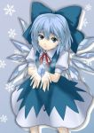 blue_hair bow caesar_et_cleopatra cirno face floating_object hair_bow hair_ribbon highres ice looking_up open_hands ribbon simple_background snowflakes touhou wings