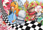 castle checkered checkered_floor cheshire_cat flower heart mad_hatter march_hare queen_of_hearts red_rose rose tea white_rabbit yukiyuu