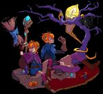 book boots bottle broom candle candy candy_cane carpet cauldron cowl dramatica gloves halloween highres horns leggings mouse orange_hair original pointy_ears potion short_hair spider spider_web spirit staff tree
