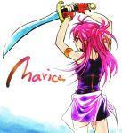 back etarosa fingerless_gloves fire_emblem fire_emblem:_seima_no_kouseki gloves long_hair marisa pink_hair sword weapon