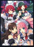 apron atelier_(series) atelier_viorate_alchemist_of_gramnad_2 blue_eyes blush brown_eyes brown_hair cake crossover disgaea etna feeding food green_hair hair_ornament long_hair maid maid_headdress multiple_girls nippon_ichi pastry red_eyes red_hair rizelia trinity_universe tsubaki_(trinity_universe) tsunako viorate_platane