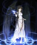 beek bird black_hair black_wings dress highres long_hair mabinogi magic_circle morrighan white_eyes wings