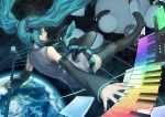 aqua_hair detached_sleeves earth gradient hatsune_miku instrument keyboard_(instrument) long_hair microphone microphone_stand nail_polish necktie outstretched_arm ryuutetsu skirt space synthesizer thighhighs twintails typhoon vocaloid zettai_ryouiki