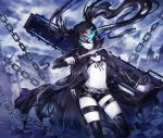 bikini_top black_hair black_rock_shooter black_rock_shooter_(character) blue_eyes boots chain coat flat_chest glowing glowing_eyes gun highres huge_weapon katana knife leg_band long_hair midriff navel pale_skin shorts solo suzuya_akinori sword thigh-highs thigh_strap thighhighs twintails weapon