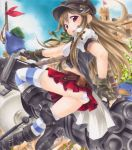1girl belt boots brown_hair buckle cannon castle fingerless_gloves flag gloves gun hat long_hair marker_(medium) miniskirt open_mouth original panties pastel_(medium) puffy_sleeves red_eyes short_sleeves skirt striped striped_legwear tatara_kaeru thigh-highs traditional_media underwear weapon
