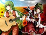 acoustic_guitar ascot dual_persona flower flower_field green_hair guitar instrument kazami_yuuka kazami_yuuka_(pc-98) long_hair mochi.f plaid plaid_pants plaid_skirt plaid_vest red_eyes short_hair skirt skirt_set smirk sunflower touhou touhou_(pc-98) wallpaper