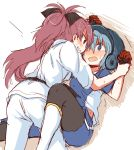 2girls baseball_uniform blue_eyes blue_hair blush bow breath dougi gloves grin hair_bow helmet long_hair mahou_shoujo_madoka_magica miki_sayaka multiple_girls open_mouth ponytail red_eyes redhead sakura_kyouko short_hair smile sportswear wrist_grab yasuio yuri