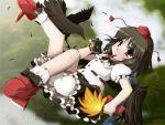 black_wings bloomers camera crow deep_takezaki fan geta hat mouth_hold pen shameimaru_aya tengu-geta tokin_hat touhou wings