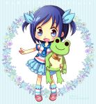 1girl blue_eyes blue_hair blush child dokidoki!_precure frog hair_ribbon hishikawa_rikka hiyopuko necktie precure ribbon sailor_collar shirt shoes short_hair skirt smile socks solo stuffed_animal stuffed_toy two_side_up young