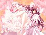 brown_hair carnelian flower long_hair quilt red_eyes wedding_dress
