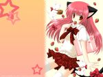 bag basket cat cat_ears catgirl checkered food fruit highres nekoneko original pleated_skirt red_eyes red_hair ribbon school_uniform skirt strawberry thighhighs wallpaper zettai_ryouiki