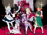 bat bat_wings blonde_hair blue_eyes blue_hair blush candle flandre_scarlet green_eyes hebata highres hong_meiling izayoi_sakuya koakuma long_hair maid multiple_girls patchouli_knowledge purple_eyes purple_hair red_eyes red_hair remilia_scarlet ribbon short_hair silver_hair the_embodiment_of_scarlet_devil thighhighs touhou wallpaper wings