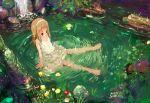 barefoot blonde_hair feet highres kusaka_souji kusaka_souzi long_hair original red_eyes water waterfall wet