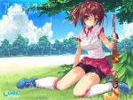 amesarasa bike_shorts blush bra brown_eyes brown_hair cloud cuffs_design field_hockey fingerless_gloves gloves grass gym_uniform highres kneehighs kumihama_mitsuha lingerie ponytail ribbon see-through shoes sitting sneakers socks sport tsurusaki_takahiro underwear wallpaper wet_clothes