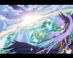 cloud dress from_behind gensokyo gensoukyou hair_ribbon hakurei_reimu long_hair meimu original purple_hair red_eyes ribbon scenery sky solo sun touhou wallpaper
