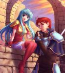 bad_id blue_eyes blue_hair boots eirika fingerless_gloves fire_emblem fire_emblem:_seima_no_kouseki fire_emblem:_the_sacred_stones gloves holding_hands long_hair ohmi_blue open_mouth polearm seth seth_(fire_emblem) skirt spear thigh-highs thigh_boots thighhighs weapon zettai_ryouiki