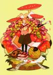 absurdres apple autumn book envelope food fruit highres leaf mushroom music original paintbrush pantyhose piano_keys solo