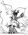 afro_samurai afro_samurai_(character) highres katana raikenji1989 sketch sword weapon