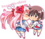 blush brown_hair cheek_kiss chibi closed_eyes hair_ribbon happy_birthday haramura_nodoka kiss kneehighs long_hair midori_kouichi miyanaga_saki no_panties pink_hair red_eyes ribbon saki school_uniform serafuku short_hair skirt thigh-highs thighhighs twintails yuri zettai_ryouiki