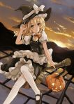 apron blonde_hair braid broom broom_riding buttons chain cloud dress hair_ribbon halloween hand_on_hat hat jack-o'-lantern kirisame_marisa light_smile looking_at_viewer mary_janes pumpkin ribbon rice_paddy shoes sky solo sunlight sunset thighhighs touhou white_legwear witch_hat xiao_qiang_(overseas) yellow_eyes zettai_ryouiki