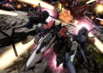 battle brera_sterne explosion gerwalk laser lowres macross macross_frontier mecha missile realistic robographer saotome_alto science_fiction space spoilers vf-25 vf-27 war