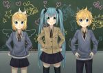 1boy 2girls :3 aliceword aqua_hair blonde_hair blue_eyes chalkboard green_eyes hair_ornament hair_ribbon hairclip hands_on_hips hatsune_miku heart highres kagamine_len kagamine_rin long_hair multiple_girls musical_note necktie ribbon school_uniform skirt smile star thigh-highs twintails very_long_hair vocaloid wings
