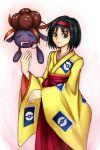 closed_eyes drool erika_(pokemon) furisode gloom green_eyes gym_leader hairband japanese_clothes kimono open_mouth poke_ball pokemon pokemon_(game) pokemon_gsc saliva short_hair smile toranohige_(pixiv)