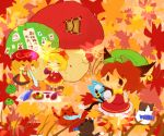 aki_minoriko aki_shizuha autumn basket cat chen chibi eating fish food mushroom sneeze sneezing stool sweet_potato touhou yam